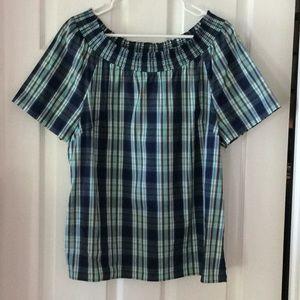 Talbots Navy & Green Plaid Short Sleeve Blouse-L